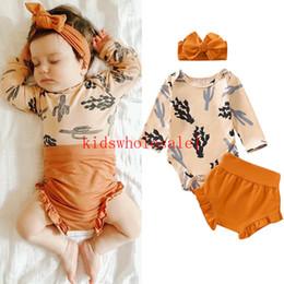 chapéus bola de futebol Desconto 3pcs Newborn Toddler Baby Girl Boys Clothes Sets Print Romper Top+Pants+Headband Outfits Set