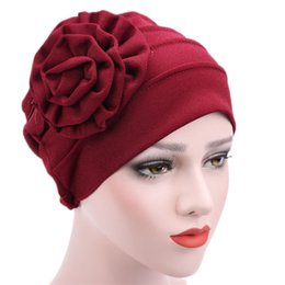 mütze für muslimische frauen Rabatt Einzigartige Frauen-moslemischer Ausdehnungs-Turban-Hut Chemo-Kappen-Haar-Verlust-Kopf-Schal-Verpackung Hijib-Kappe freies Verschiffen # N05
