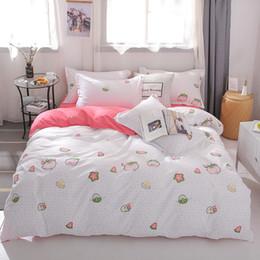 2019 tamaño de la reina MENGZIQIAN El nuevo juego de ropa de cama WATERMELON PIG, Moda de alta calidad, Múltiples tamaños, Dibujos animados, colcha, hoja, funda de almohada 3pcs 4pcs tamaño de la reina baratos