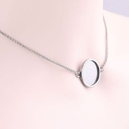 stainless steel necklace blanks Coupons - Shukaki Stainless Steel Adjustable Choker Necklace Pendant Tray Settings Fitting 20mm Round Cabochon Base Blank Bezels Diy Findings