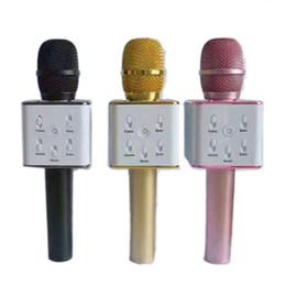 2019 karaoke del microfono del mp3 Q7 Bluetooth microfono senza fili tenuto in mano portatile KTV Karaoke Player altoparlante con il MIC altoparlante per iPhone 7 Plus Samsung S7 bordo DHL sconti karaoke del microfono del mp3