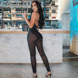 Pantalones transparentes femeninos online-2019 Summer Black Pencil Pants Tight Transparent Long Summer High Cintura alta Pantalones de mujer Perspectiva de rayas Pantalones de mujer Mujer