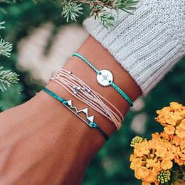 2019 pietre bianche di platino Nuovi branelli della Boemia d'avanguardia tessono i braccialetti di amicizia della corda per gli uomini gioielli fatti a mano del braccialetto di fascino della montagna della neve degli uomini