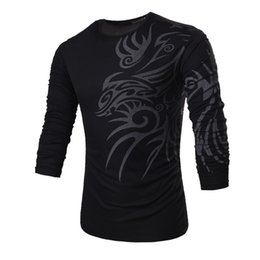 Element t-shirts online-Neue Mode Chinesischen Element Totems Print T-shirt männer Casual Slim Fit Stilvolle T-shirt Langarm Oansatz Tops Tx71 C