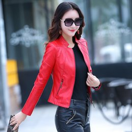 black leather pics Coupons - Free shipping real pic women lady female black wine yellow red soft sheepskin genuine leather short coat leather clothes on sale