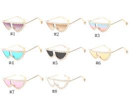Katzenaugenrahmen rhinestones online-Mode Strass Rahmen-Frauen-Sonnenbrille Perle Spitze der Tempel Metall Cool Cat Eye Sonnenbrillen EEA690