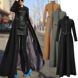 Abrigo largo de parka online-Para mujer completa longitud de la capa de la chaqueta de la devanadera del disyuntor Slim Fit zanja larga Outwear Parka