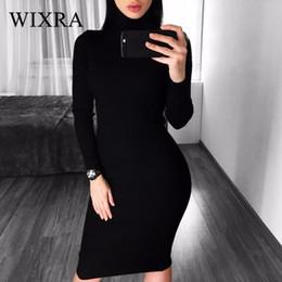 2019 Vestidos Sweater Dress Women Knitted Winter Long Sleeve Robe Femme Turtleneck Black Dress Warm Autumn Womens Clothing Women's Clothing