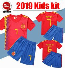 2019 Kids kit España ASENSIO ISCO camisetas de fútbol kits de fútbol uniforme juvenil camisetas de futbol MORATA SILVA RAMOS PIQUE desde fabricantes