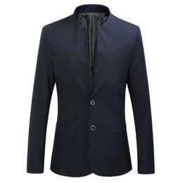 blazer con colletto Sconti Plus Size Uomo Blazer Moda 2018 Autunno Inverno Slim Fit Suit Giacche Uomo Plus Size Stand collare giacca casual Business Blazer