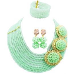 cuentas de la boda de nigeria verde Rebajas Gorgeous Mint Green Women Nigerian Wedding Beads collar de cristal aretes conjuntos 10C-C3PH-10