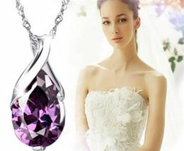 2019 пурпурные бриллиантовые подвески Кристалл кулон ожерелье мода женщин фиолетовый Алмаз ожерелье ювелирные изделия R265 дешево пурпурные бриллиантовые подвески