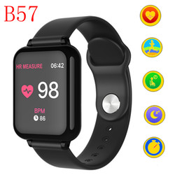 golden watches for men Promo Codes - B57 Women Men Smart Watches Waterproof Sport Smartwatch Heart Rate Monitor Blood Pressure Functions Fitness Tracker for IPhone XS