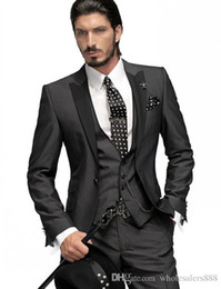 Terno preto de gravata cinza slim on-line-Slim Fit One Button Noivo Smoking cinza de carvão vegetal Best Man Black Peak lapela Groomsmen Men casamento Ternos Noivo (Jacket + Calças + Tie + Vest)