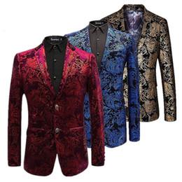 2019 giacche d'oro per gli uomini Blazer in velluto argento Men Paisley Floral Giacche Wine Red Golden Stage Suit Giacca da uomo elegante Blazer da uomo Plus Size M-6xl Y190420 giacche d'oro per gli uomini economici