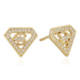 Accessoires de mode triangle boucle d'oreille en Ligne-Hip Hop Micro-inlay Zircon Stud Earrings Men Geometric Triangle S Letters Earrings Fashion Copper Gold Plated Jewelry Accessories Wholesale
