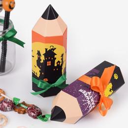 Carta da matita di colore online-500pcs Halloween divertente matita del fumetto di figura della caramella Cookie Gift Box Paper Folding scatola di imballaggio scatola di colore 11.5x5cm all'ingrosso