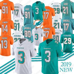 Delfines online-3 Josh Rosen Miami Jersey Dolphins 29 Minkah Fitzpatrick 47 Kiko Alonso 21 Frank Gore 80 Danny Amendola 91 Cameron Wake Jerseys