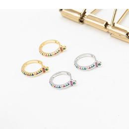 Hebilla de oreja de oro online-Corea hermoso color Mini Zircon 925 pendientes de aro de oro blanco de plata esterlina oreja hebilla pendiente para mujer joyería de moda