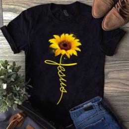 2019 jésus tshirt Tournesol Jésus Shirt Noir Coton Dames Shirt Bande Dessinée T Shirt Hommes Unisexe Nouveau Mode Tshirt Livraison Gratuite Drôle Tops jésus tshirt pas cher
