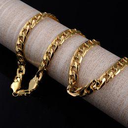 2019 gelbgold armbänder für männer 10 MM Fashion Luxury Jewerly 18 karat Gelbgold überzogene Halskette und Armband für Frauen und Männer 60 cm (23,6 zoll) rabatt gelbgold armbänder für männer