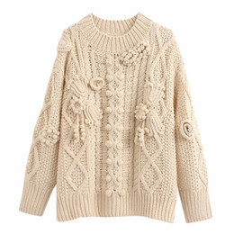 Modelli di crochet donna online-Femminile 2019 Stylish Crochet maglione Autunno-Inverno donne caldo allentato pullover cappotto O-collo Simple Delicato modello elegante signore