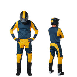 Maglia blu motocross online-2019 Giallo con blu Abbigliamento da uomo Off-road Motocross gear Traspirante Quick dry Jersey + Pantaloni combis Tute da moto
