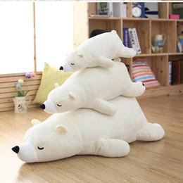 Canada Haute qualité 55cm 75cm liv coeur mer ours en peluche animaux en peluche jouet poupée modèle canapé doux blanc endormi ours Tenir oreiller enfants cadeau Offre