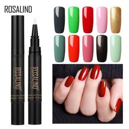 Farbiger gelnagellack online-ROSALIND 58 Farben tränken UV LED Gel Polish Pen Nagellack Nails Art Multiple Color Malerei Gel Lacke Basis Maniküre 5ML