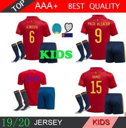 Spanische socken online-2018 Welt 2020 Spanien Kinder Fußball Jersey kit Socken RAMOS ISCO PIQUE SERGIO A. INIESTA M. ASENSIO THIAGO MORATA Heimtrikot Fußball Uniformen