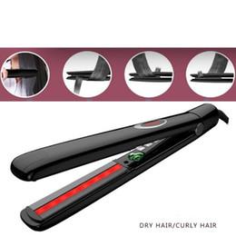 Raddrizzare la spazzola online-Piastra per capelli a infrarossi Spazzola per capelli anioni in ferro piatto per raddrizzare i capelli Pettine per capelli in tormalina Spazzola per capelli in ceramica Salone DHL gratuito