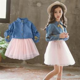 5bd7d1de6c96 2018 children s clothing Korean version set girls autumn dress skirt big  boy denim shirt fluffy princess dress two-piece Clothing Sets