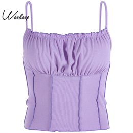 Camisole violet en Ligne-Weekeep Sexy Bodycon Dos Nu Crop Top Femmes Violet Sangle Tricoté Camis Streetwear Fold Cropped Feminino Befree Camisole Tops