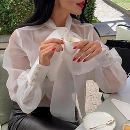 camicie trasparenti donne Sconti Camicie da donna libere Camicette Camicie Top Papillon Sottili Tulle Maniche lanterna trasparenti Vedi attraverso Eleganti bluse casual da donna Famale