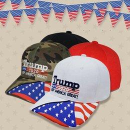 2019 favores de la rosa azul Gorra de béisbol Donald Trump Gorra de camuflaje EE. UU. Con bandera de estrellas de EE. UU. Keep Great Great 2020 Hat 3D Bordado Carta Ajustable Gorra de golf HHA351