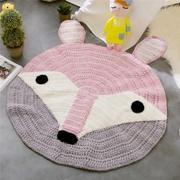 2019 i modelli a crochet dei capretti Pink Fox Ears Pattern Crochet Round Tappeti e moquette per i bambini Decorazione della stanza Kids Baby Coperta gioco Play Knitting Mat Soft i modelli a crochet dei capretti economici