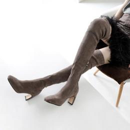tacchi di kitten neri delle ragazze Sconti New Winter Nero Grigio Camoscio stivali alti Donna Chic punta a punta stivaletti da donna Cuciture laterali Zip Gattino medio Scarpe tacco Ragazza