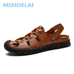 f7f5ec96b MIXIDELAI Mens Sandals Genuine Leather Summer 2019 New Beach Men Casual  Shoes Outdoor Sandals Size 38-44 Fashion Men shoes