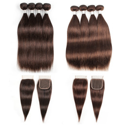 chocolate straight hair Coupons - Indian Straight Human Hair Bundles With Closure #2 #4 Chocolate Brown 3 or 4 Bundles with Lace Closure Remy Human Hair extensions