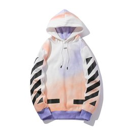 spray coating Coupons - Rendering Stripe Sanitary Clothes Autumn Loose Spray-painted Hat Coat with Furry Female Lovers Long Sleeve Hoodie Fashion Hoodies Printed