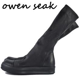 Белые коленные сапоги онлайн-Оуэн Seak Женская обувь колено высокие сапоги овчины Кожа Роскошные тренеры зимы тапки вскользь Квартиры Обувь Белый Черный Большой размер