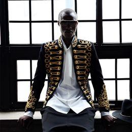 Il rivestimento del mens adatta i sequins online-Giacca in blazer nero con maniche lunghe in paillettes da uomo, colore 3, colore A19