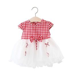 Vestido de rejilla de las niñas online-Vestidos para bebés recién nacidos Grid Splicing Veil Party 1er vestido de verano Verano de manga corta para bebés y niños vestido de algodón infantil