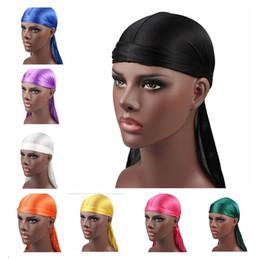 Hombres durags Silky Durag para hombre diseñador sombreros Gorras Satén Bandana Turbante Pelucas Headwear Diadema Pirata Sombrero Accesorios para el cabello masculino desde fabricantes