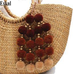 Ювелирные украшения стиля boho онлайн-Exknl Pompons With Wooden  Key Chains Pompom Key Ring Women Boho Style Jewelry Diy Handmade Jewelry Cute Bag Accessories