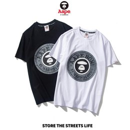trendy shirts for men Coupons - Mens Summer Designer T Shirt Fashion Print Tops Trendy Loose Monkey Pattern Short Sleeve Casual Letter Print Top for Street Hip Hop