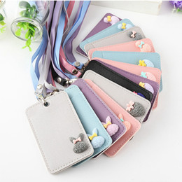 Lanyards étudiants en Ligne-Cute Multifunction Card Bag Student Coin Purse Kids Girl Baby Credit PU Card Cover Holder Purse Lanyard for Photos