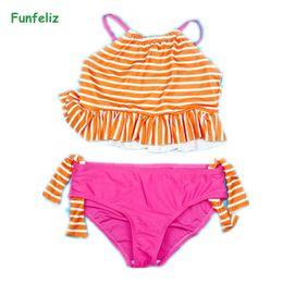 b0612281ea119 Funfeliz Children Swimwear Striped Two Pieces Swimsuit for Girls Double  Lined 4T-12T Kids Bather Girl swimming suit Bikini Set