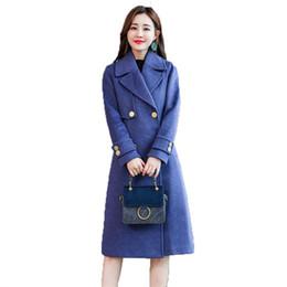 Шерстяные пальто женские куртки осень и зима новой моды темперамент дикий длинный двубортный сплошной цвет шерстяное пальто от Поставщики кашемировая шерстяная женская черная шерсть