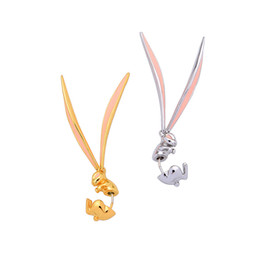 bunny earrings Promo Codes - S925 Silver Needle Korean version of ins niche Design Girl Heart earrings cute bunny Enamel glazed ear Nail single me00236